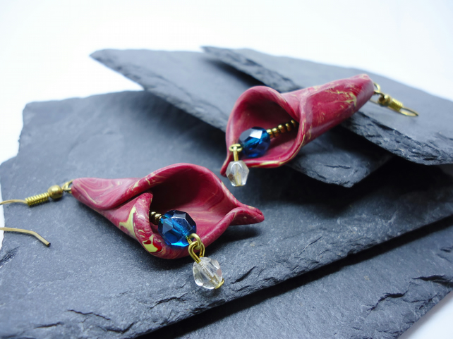Red 'Calla Lily' Earrings