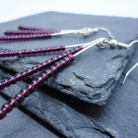 Purple and silver 'strand' seed bead earrings