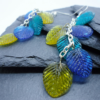 'Trailing Leaf' long drop glass earrings