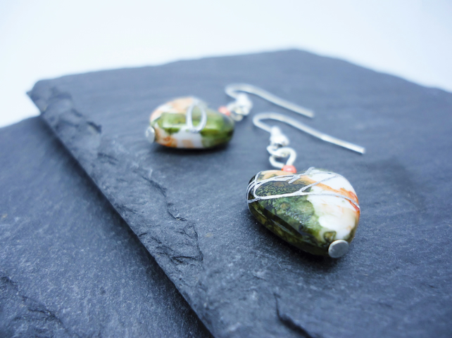 Orange and Green Heart Earrings