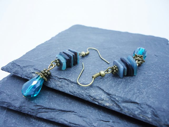 Green Shell Stack and Crystal Teardrop Earrings