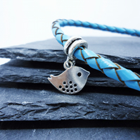 'Sweet Tweet' Turquoise Braided Leather Bracelet with Silver Bird Charm