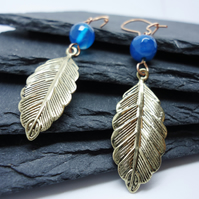 Gold leaf and blue Agate earrings