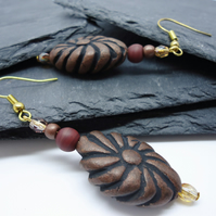Terracotta 'Coffee Bean' brown and gold earrings