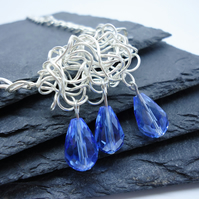 'Raincloud' Silver and Blue Glass Necklace