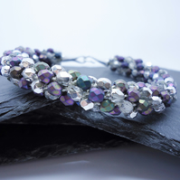 Silver and Purple Czech Fire Polished Kumihimo Bracelet