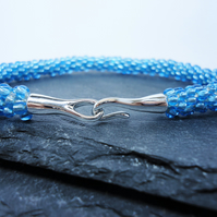 Ice Blue Beaded Kumihimo Bracelet