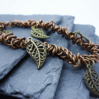 'Rustic Leaf' Bronze tone Stretch Bracelet with Leaf Charms