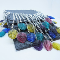 'Falling Leaves' Green, Yellow, Purple and Blue Glass Leaf Necklace