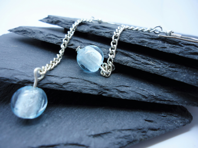 Icicles Long Blue and Silver Dangle Earrings