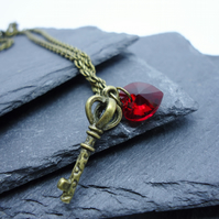 'Key to my Heart' Red Swarovski Crystal Heart and Antique Key Necklace