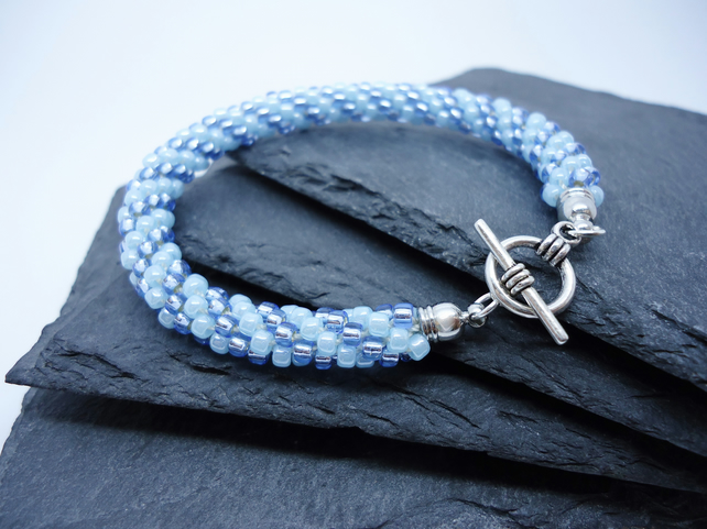 Ice Spiral Blue Glass Bead Braided Kumihimo Bracelet