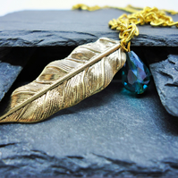 Gold Leaf and Green Crystal Necklace