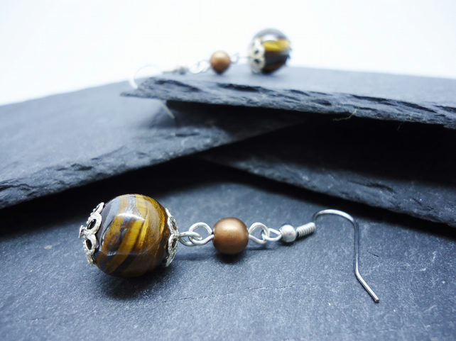 Tiger's Eye Dangle Earrings