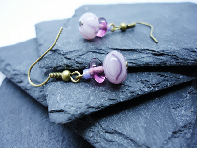 Purple Glass Stack Earrings