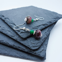 Purple and Green Glass Stacked Earrings