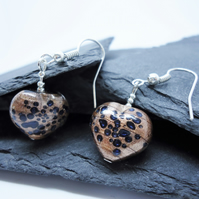 Bronze and Blue Glass Heart Earrings
