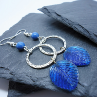 Blue and Silver Dreamcatcher Earrings