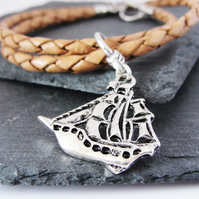 Braided Leather Pirate Bracelet
