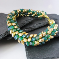 Green and Gold Kumihimo Dragon Bracelet