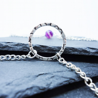 Silver Hoop and Purple Agate 'Saturn' Necklace