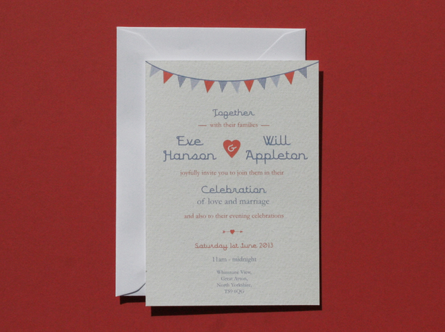 wedding invitation sample vintage bunting folksy