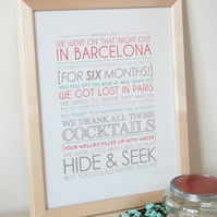Personalised Favourite Memories Print