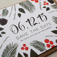 Save The Date Card - Winter Botanicals
