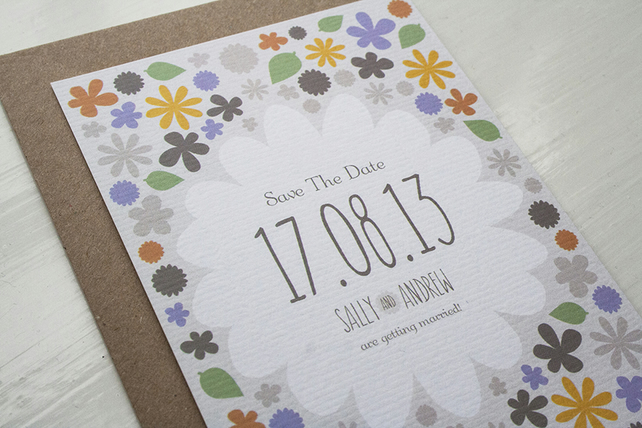 Save The Date Card Sample - Rustic Florals