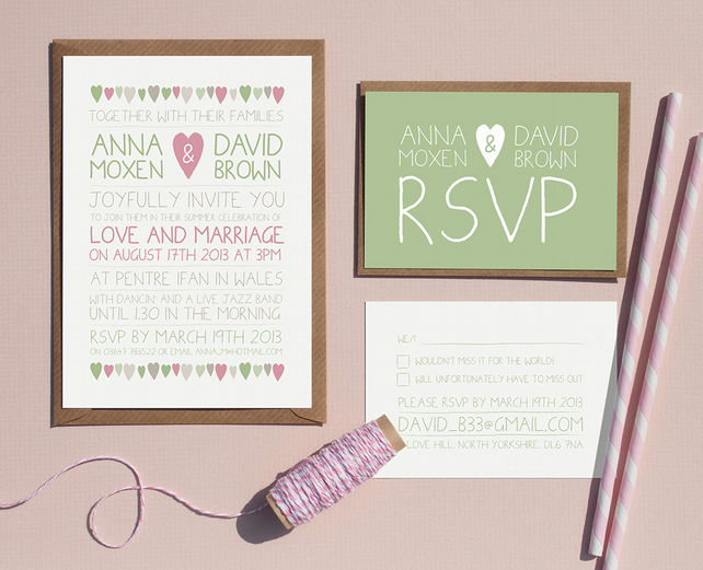 Wedding Invitation Sample - Pretty Hearts