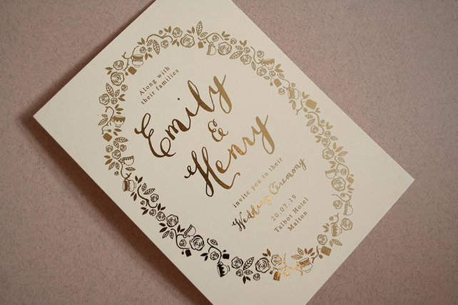 Wedding Invitation Sample - 'Vintage Wreath' Range