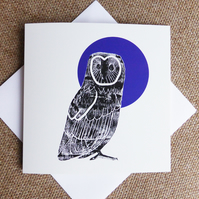 Owl & Blue Moon square card