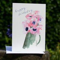 Pink Anemones - 2 birthday cards