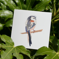 Long-tailed tit watercolour square card