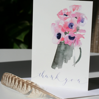 Pink Anemones thank you card