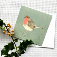 Pack of five Wintery Robin cards