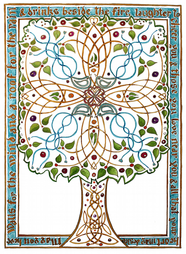 Celtic Blessing Tree poster size print