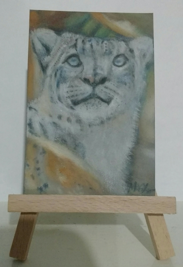 Aceo Animal Snow Leopard Big Cat Original Pastel Painting