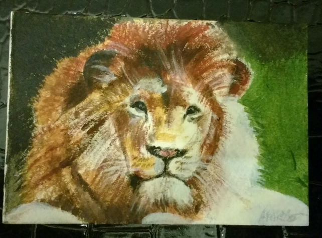 Aceo Animal Lion Wildlife Original Acrylic Painting