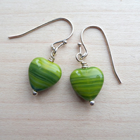 Stripy green yellow heart earrings.
