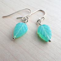 Delicate beaded leaf shape bead earrings