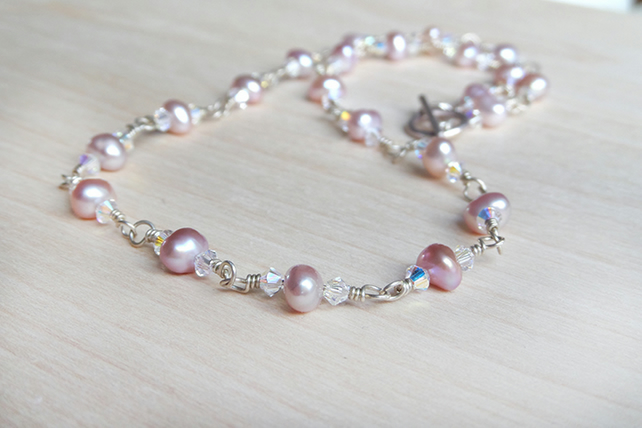 Delicate fresh water pearl necklace pale pink