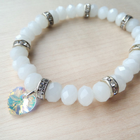 White stretch sparkle bracelet with crystal rondelles
