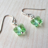 Little green butterfly drop earrings
