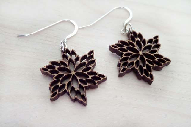 Wooden flower earrings on sterling silver