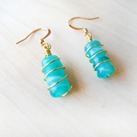 Turquoise glass beads with coloured twisted wire and gold plate earwires
