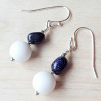 Shell and Gold stone beaded earrings silver plated