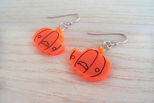 vibrant pumpkin halloween earrings