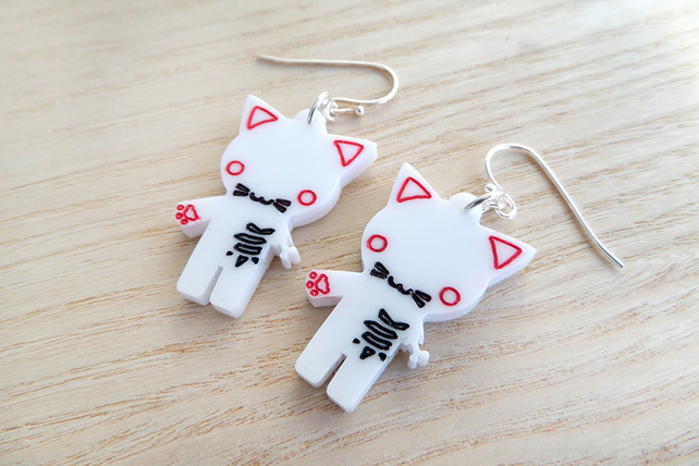 Laser cut acrylic Halloween zombie kitty cat earrings on silver plated earwires
