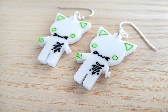 Cute laser cut acrylic Halloween zombie kitty earrings on silver plate ear wires
